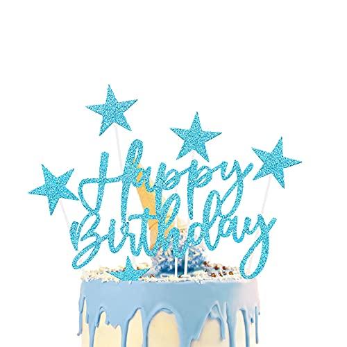 iZoeL 2 Set Blu Compleanno Torta Topper, Buon Compleanno Stella Decorazione Della Torta Per Uomo Ragazzi Feste Di Compleanno