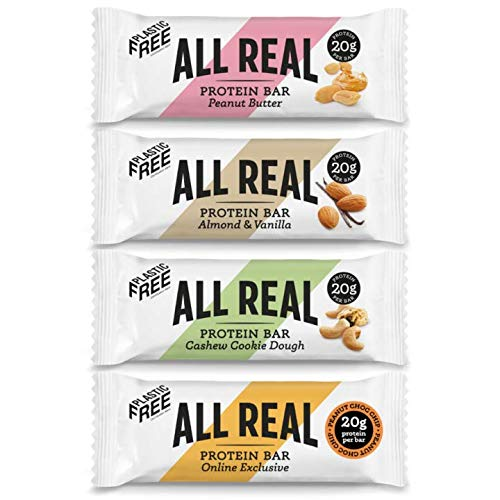 All Real 100% Natural Plastic Free Protein Bars - Taster 4 Pack 60g | Peanut Butter, Choc SEA Salt, Almond Vanilla, Cookie Dough | 20g Protein Bar
