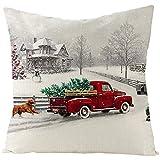 Beydodo 1 Fundas Cojin Sofa Fundas de Cojines 45X45 Modernas Baratas Coche con Árbol de Navidad Perro Casa y Monigote de Nieve Gris Rojo Verde