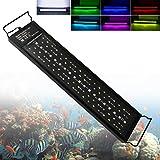 LED Aquarium Beleuchtung 24W Fish Tank Aufsetzleuchte Mit Timer und Erweiterbarer Halterung Aquarium Lampe für 45-60cm, Wasserdicht IP68 Vollspektrum LED Automatisiertes LED-Licht für Fisch Koralle