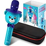 KaraoKing Karaoke Microphone for Kids - Wireless, Bluetooth Karaoke Machine for Toddlers & Kids in Comic Bear Shape - Includes Mic with Speaker, Perfect for Rock n' Roll Parties (S9 Blue)