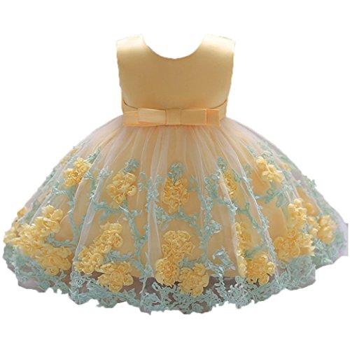 UOMOGO Vestito Ragazze Bambina Farfalla Cerimonia Elegante Smanicato Principessa Abiti 0-18 Mesi (età: 12~18 Mesi, Oro)