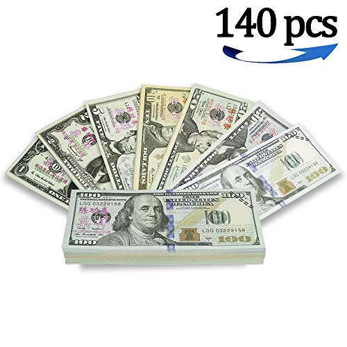 G Rabbit Motion Picture Money Prop Money Full Print 2 Sided $5 $10 $20 $50 $100 Each 20 PCS Realistic Money Stacks,Copy Money Play Money That Looks Real for Movie,Videos, Birthday Party