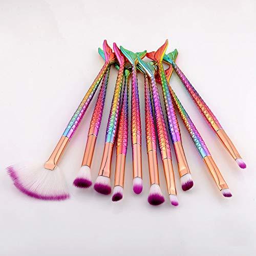 10 Pcs Professionnel Sirène Pinceaux à maquillage Ensemble Set Eye Kits Ombre eyeliner Haute qualité Maquillage Pinceau Kit Outils Sourcils,Violet