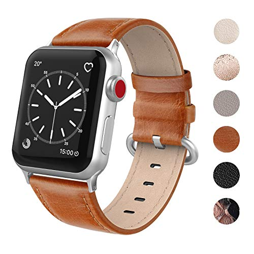 SWEES Leather Bands Compatible for Apple Watch iWatch 38mm 40mm, Genuine Leather Soft Elegant Strap Compatible iWatch Series 5 Series 4 Series 3 Series 2 Series 1, Sports & Edition Women, Saddle Brown
