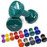 FOURSCOM 2er Set 2X 4kg Vinyl Hanteln Kurzhanteln Gymnastikhanteln, 13 Verschiedene Gewichte und...