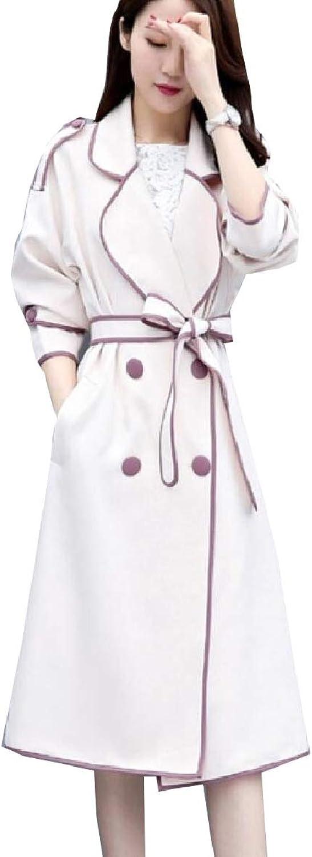 LEISHOP Women's Casual Long Sleeves Lapel Outwear Windbreaker Trench Coat