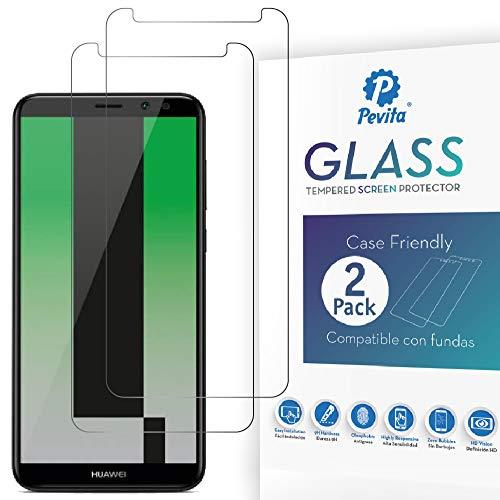 Pevita Pellicola Protettiva per Huawei Mate 10 Lite [2 Packs] Case Friendly. Durezza 9H, Senza Bolle, Facile Installazione. Pellicola Protettiva di Vetro Temperato Premium per Huawei Mate 10Lite