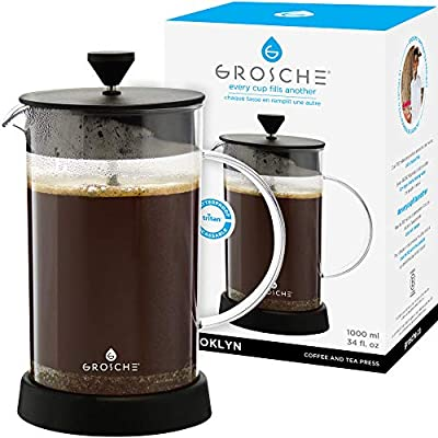 GROSCHE Brooklyn Shatterproof French Press BPA Free Tritan 1000 ml, 34 oz, 8 cup Unbreakable French Press for coffee tea or cold brew