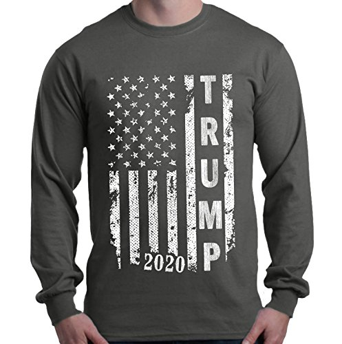 Shop4ever Trump 2020 American Flag Long Sleeve Shirt Political Shirts Large Charcoal 0