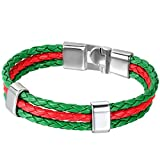 JewelryWe Schmuck Armband, Portugal Portugiesisch Flagge Armreif, Leder Legierung, für Herren Damen, Grün Rot