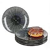 MamboCat Taipei 6X Kuchen-Teller I Steingut-Geschirr für 6 Personen - elegant-Zeitloses Design I 6-er Dessert-Teller-Set - modernes Black & White Linien-Muster I Teller klein schwarz-weiß 6 Stück