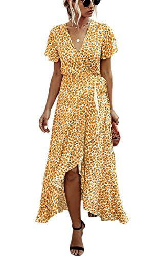 Spec4Y Damen Boho Lange Kleider V-Ausschnitt Sommerkleider Kurzarm Wickelkleid Maxikleid Strandkleid mit Schlitz 033Orange XXL