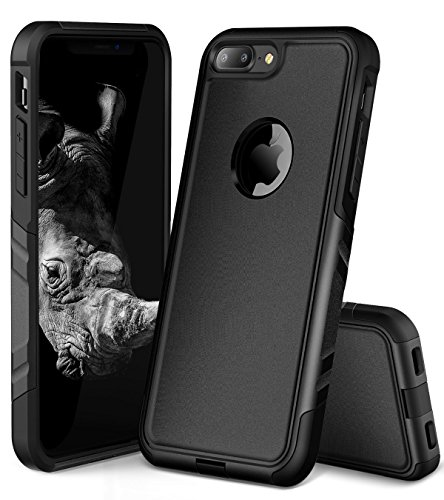 OCYCLONE iPhone 8 Plus Case, iPhone 7 Plus Case for Men, Heavy Duty Slim Front Shockproof Case and Hard PC Protective Case for iPhone 8 Plus/iPhone 7 Plus - Black