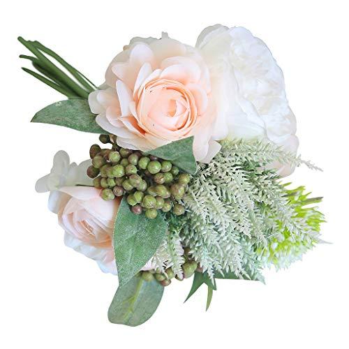 Detrade Kunstblumenstrauß Pfingstrosen Künstlich Seide für Hochzeit Dekoration Bund Seidenblumen Kunstblumen Blumenstrauß (Beige)