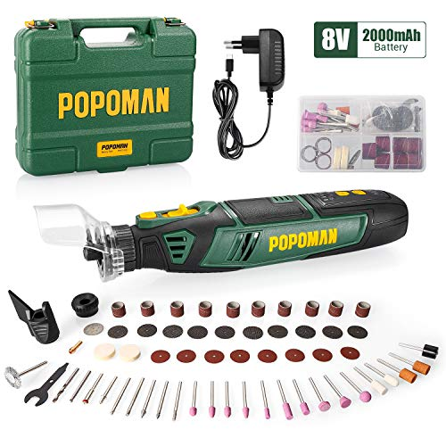 Cordless Rotary Tool Kit, POPOMAN 8V 2.0Ah Li-ion Battery, Type-C Charger, Variable Speed, 58pcs Accessories for Carving, Engraving, Sanding, Polishing Cutting, etc. Perfect Gift for DIY & Crafts