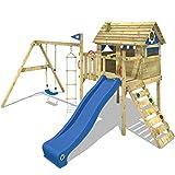 WICKEY Stelzenhaus Smart Travel Spielturm Spielhaus auf Stelzen mit Holzdach, Veranda, Rutsche und...