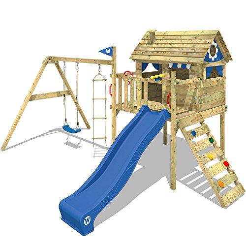WICKEY Stelzenhaus Smart Travel Spielturm Spielhaus auf Stelzen mit Holzdach, Veranda, Rutsche und Schaukel
