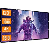 WOWOTO 120 inch Projection Screen 16:9 HD Foldable Anti-Crease Portable Projector Movies Screen for Home Theater Outdoor Indoor Support Double Sided Projection