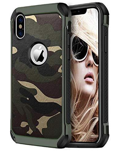 FDTCYDS iPhone X Hülle,iPhone x Camo Hülle Defender Shockproof Drop Proof High Impact Rüstung Plastic & Leder TPU Hybrid Rugged Camouflage HandyHülle Schutz Cover Hülle für Apple iPhone x – Grun