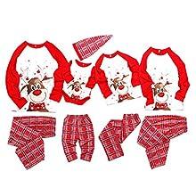 WANGSCANIS Conjunto de Pijamas Navideños para Familia Padre Madre Bebé 2 Piezas Camiseta de Manga Larga + Pantalones Largos a Cuadros Estampado de Alces Navidad (Alce Rojo, 12-18 Meses)