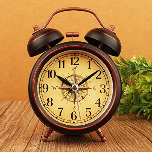 FPRW retro wekker met bel van metaal, grote wekker, wekker met nostalgische kunst, type 4 inch