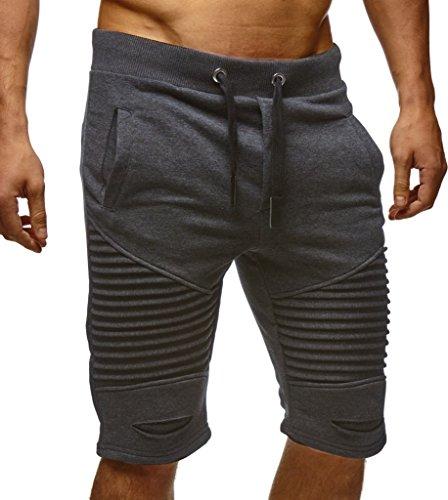 Leif Nelson Herren Kurze Hose Shorts Sweatshorts LN9025; Größe L, Anthrazit