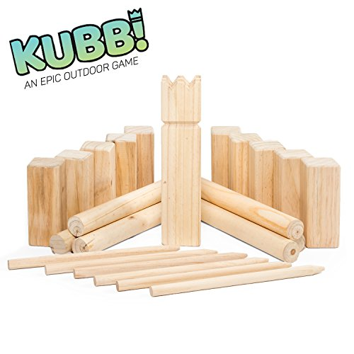 Play Platoon Premium Hardwood Kubb Game Set - Fun Outdoor Lawn Game for All Ages