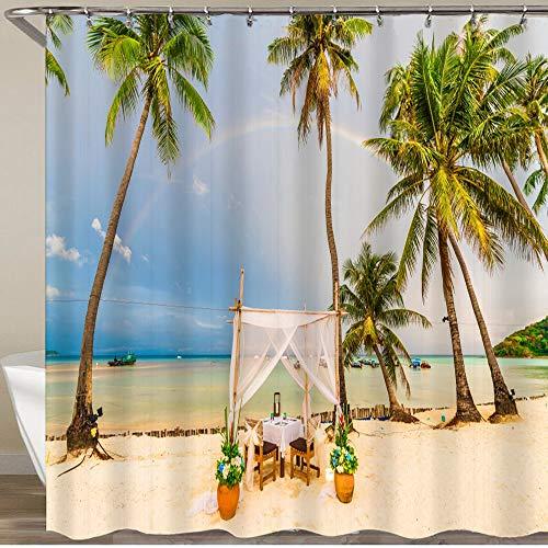 LISNIANY Duschvorhang 180x180cm Wasserabweisend Shower Curtain,Exotischer Strand nach dem Regen auf der Insel Ko Phi Phi Lee