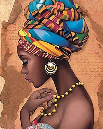canevas point de croix kit complet adulte débutant,Fille africaine,DIY art broderie décorer à la maison adultes Noël Cadeau 40x50cm (Toile pré-imprimée 11CT)