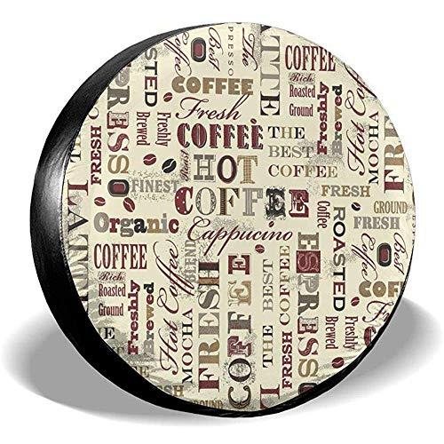 N/A Spare Tire Cover-Waterproof Universele Wiel Tire Cover Protector-Fresh Hot Koffie Recepten Fit Voor Veel Voertuig