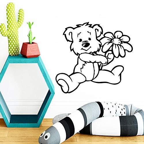 LSMYE Mode Little Bear Abnehmbare Kunst Wandaufkleber Kinderzimmer PVC Wandtattoos Dekor Wandtattoos Wohnzimmer Wandbild Rot M 28cm X 30cm