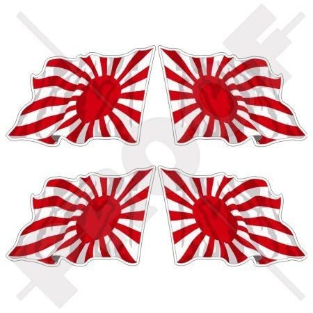 Japan Kaiser Japanische Marine Wehende Flagge Aufgehende Sonne 50mm Auto Motorrad Aufkleber X4 Vinyl Stickers Links Rechts Garten