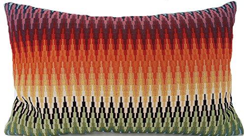 Oriental Zig Zag Housse de coussin Tissu de coton tissé Rouge Vert Orange rectangulaire Designers B