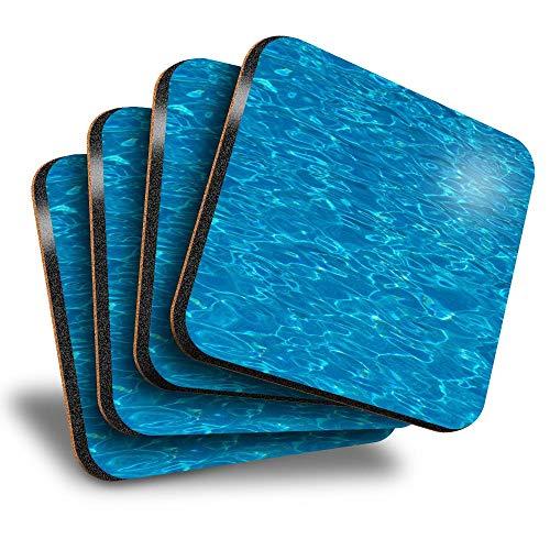 Destination Vinyl ltd Great Posavasos cuadrados (juego de 4) – Piscina de agua, natación, bebidas, brillante, protección de mesa para cualquier tipo de mesa #2271