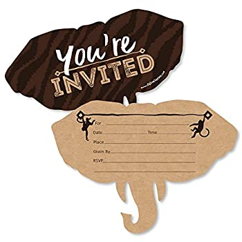 Wild Safari - Shaped Fill-in Invitations - African Jungle Adventure Birthday Party or Baby Shower Invitation Cards with Envelopes - Set of 12