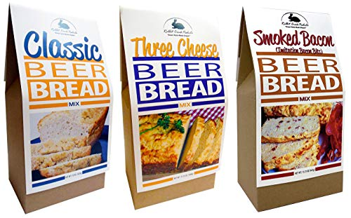 Rabbit Creek Beer Bread Mix Variety Pack of 3 – Classic Beer Bread, Smoked Bacon & Three Cheese Beer Bread Mix