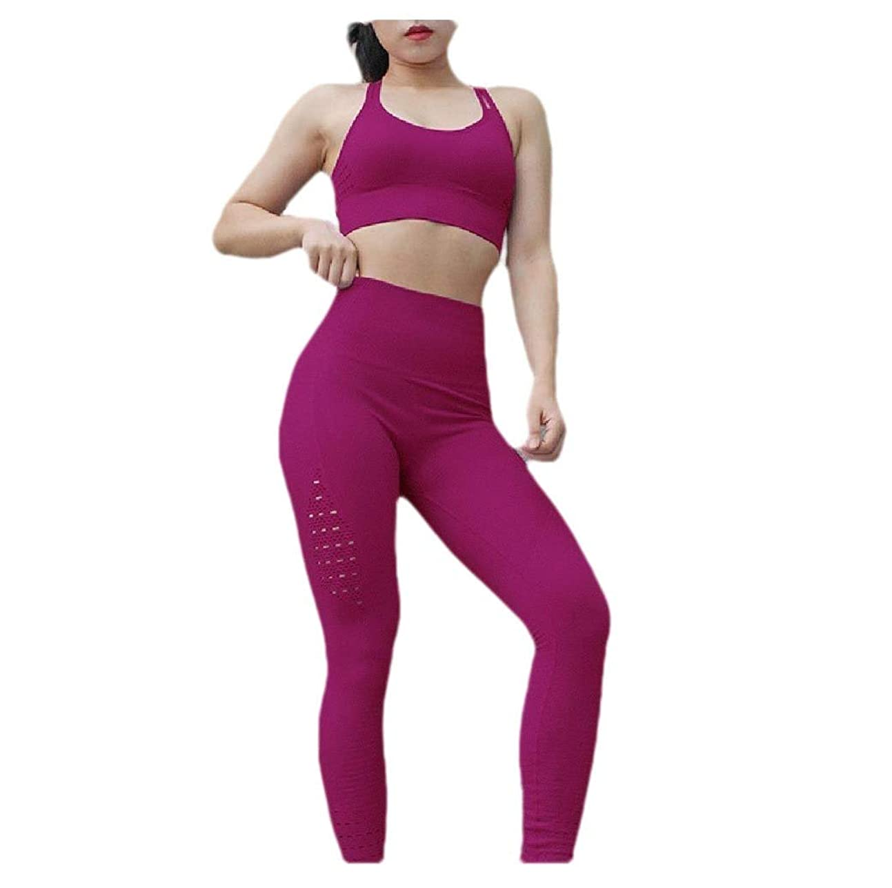 好奇心盛急速なラボTootess Women Pure Color Bodysuit Crop Beauty Back Workout Athletic Suit Set