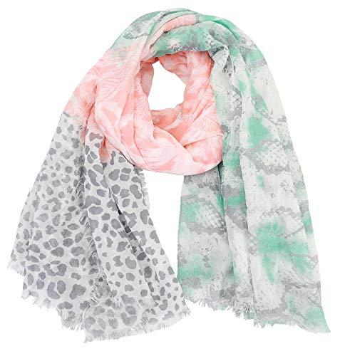 Dielay dames sjaal met palmen, slang en luipaardmotief - 140x140 cm