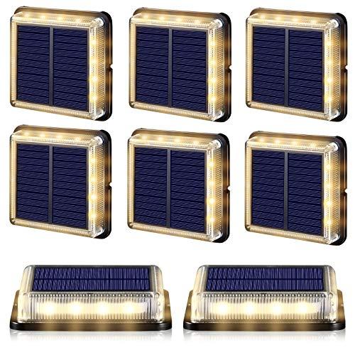 BILLION DUO Solar Bodenleuchten, LED Bodenleuchte Treppe Solarleuchten für Außen Garten, am Bodeneinbauleuchten Solarlampen für Terrassen Garten Gehweg Holzbrücke Hof Boot