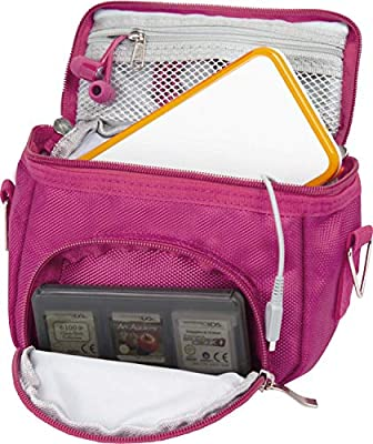Orzly High Quality Multi Shoulder Bag for ?Nintendo DS (Suitable for Versions of DS with a folding screen):DS / DS Lite / 3DS / 3DS XL / New 3DS / New 3DS XL / 2DS XL) - Portable Bag with Carry Handle and Adjustable Shoulder Strap, Belt Clip,Pink