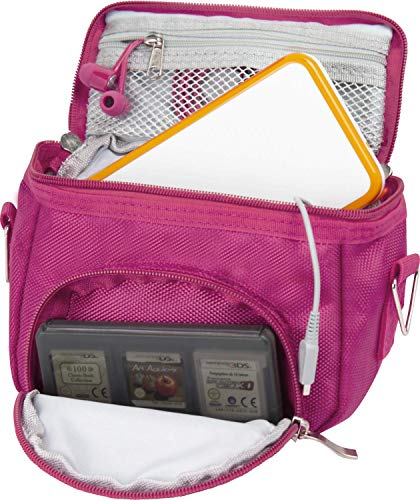Orzly Travel Bag for Nintendo DS Consoles (New 2DS XL / 3DS / 3DS XL/New 3DS / New 3DS XL/Original DS/DS Lite/DSi/etc.) - Includes Belt Loop, Carry Handle, Shoulder Strap - Pink