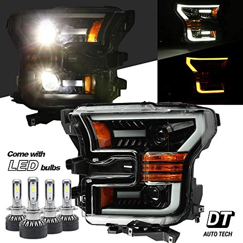 AlphaRex 6000K White LED Projector Headlights Headlamps Assembly Switchback Turn Signal+DRL For 2015-2017 F-150 F150 (Gloss black housing with switchback LED turn signal)