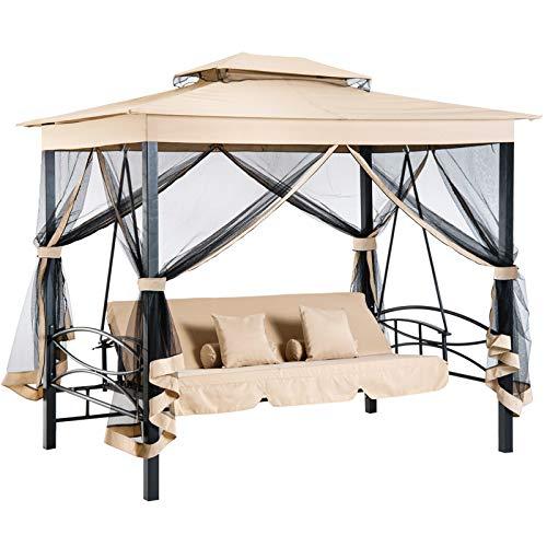 Outsunny Balancelle de Jardin 3 Places Convertible Style Colonial Grand Confort 5 Coussins + Matelas + moustiquaires Inclus 2,56L x 1,72l x 2,48H m Marron Clair