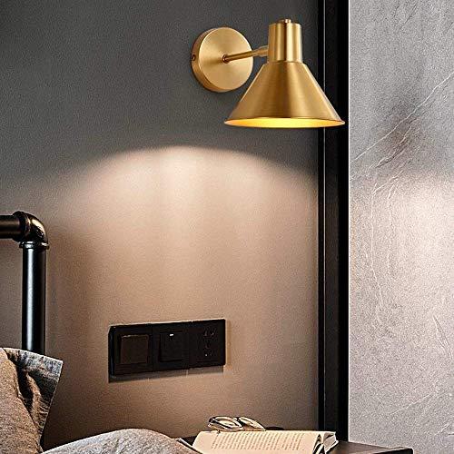 Moderno Todo el cobre de noche Lámpara de pared moderna minimalista dormitorio lámpara de cabecera llevó nórdica de la personalidad creativa Telón de fondo de la sala lámpara de pared de 17 * 17 cm il