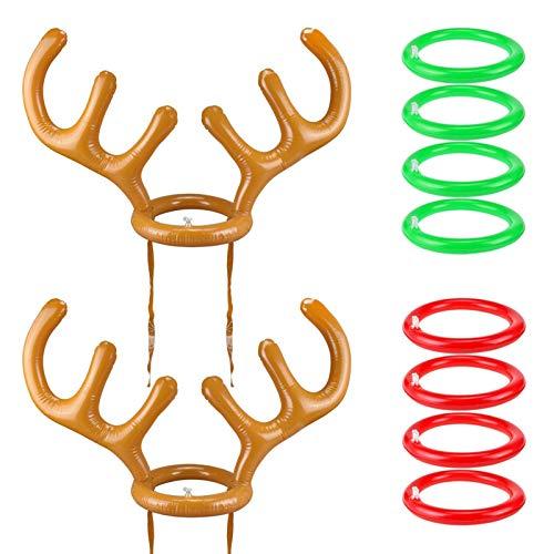 2er Pack Aufblasbare Rentiergeweih Ringwurf Party-Spiele (2 Set & 8 Ringe) Indoor Outdoor Rentiergeweih Ringwurf Spielzeug Geschenkparty Gefälligkeiten für Kinder Familie Weihnachtsfeier liefert