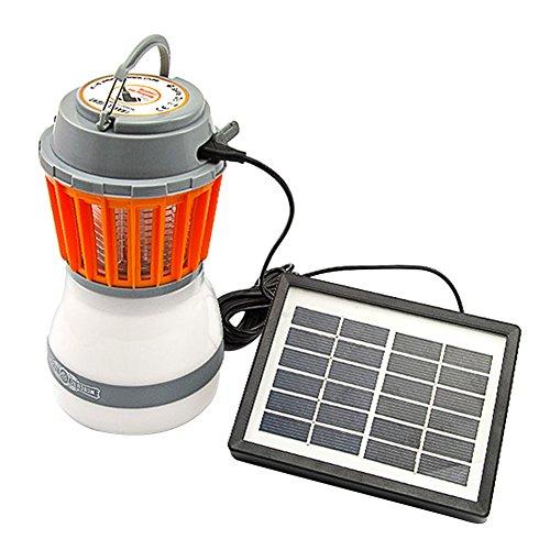 Lampada portatile ad energia solare anti zanzare per il campeggio, ricarica via USB, lampada repellente per zanzare, With Solar Panel+usb...