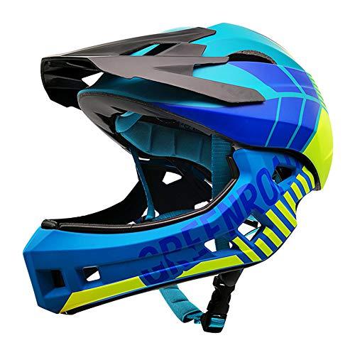 Ocamo Geschenk für männer Frauen - Motorrad Helm Kinder Balance Bike Motocross Motorradhelm mit abnehmbarem Kinn Blaugrün (Kopfumfang 48-53CM) s (Kopfumfang 48-53CM)