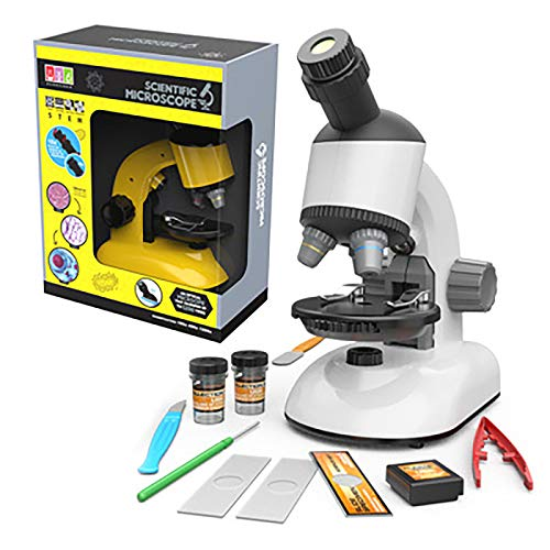 Portable Children's Optical Educational Microscope Kit 1200X HD Magnification Elementary Compound Microscope (White)