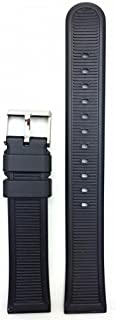 20mm Long Black Rubber Watch Band - Comfortable and Durable PVC Material Replacement Wrist Strap